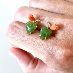 Carved Jade and Coral Stud Earrings